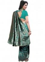 Art Silk Sea Green Weaving Work Traditional  Saree