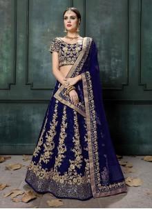 Art Silk Sequins A Line Lehenga Choli in Blue