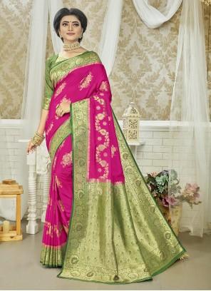 Green Art Silk Weaving Zari Saree