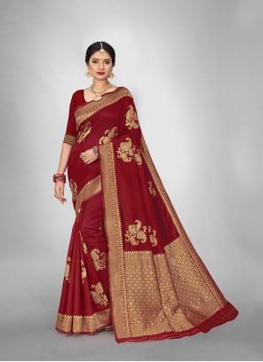 Art Silk Festival Saree in Red