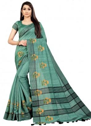 Art Silk Teal Embroidered Trendy Saree