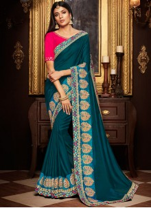 Art Silk Teal Resham Designer Traditional Saree With Blouse