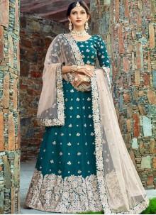 Art Silk Teal Resham Work Lehenga Choli