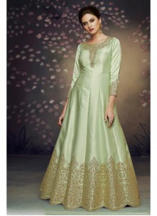 Art Silk Thread Green Salwar Suit