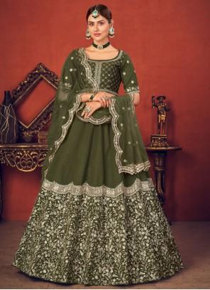 Art Silk Thread Lehenga Choli in Green