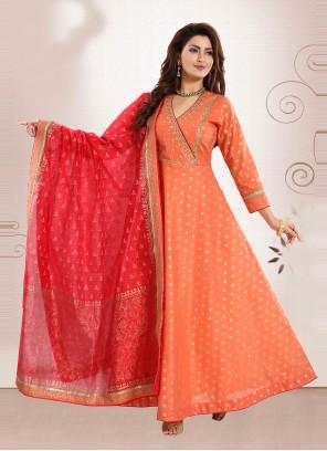 Art Silk Thread Orange Readymade Suit