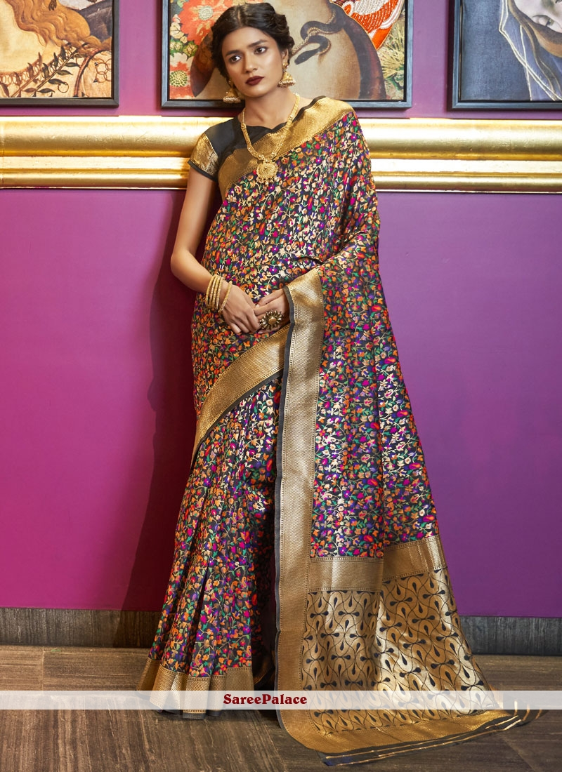 Art Silk Traditional Designer Saree in Multi Colour