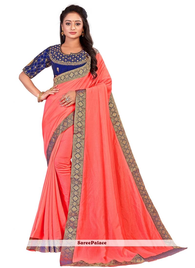Art Silk Traditional Designer Saree in Orange