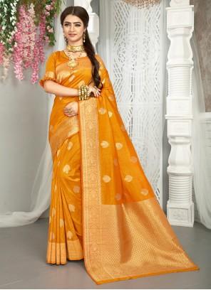Yellow Art Silk Traditional Saree
