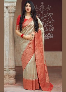 Art Silk Traditional Saree in Beige