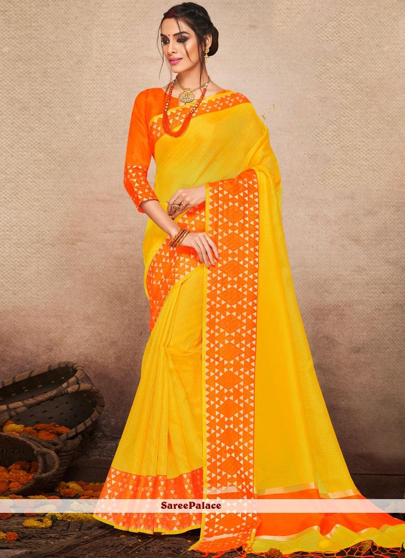 Art Silk Traditional Saree in Yellow