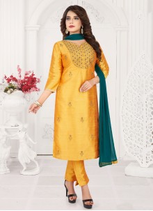 Art Silk Trendy Mustard Salwar Kameez