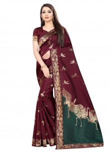 Art Silk Trendy Maroon Saree