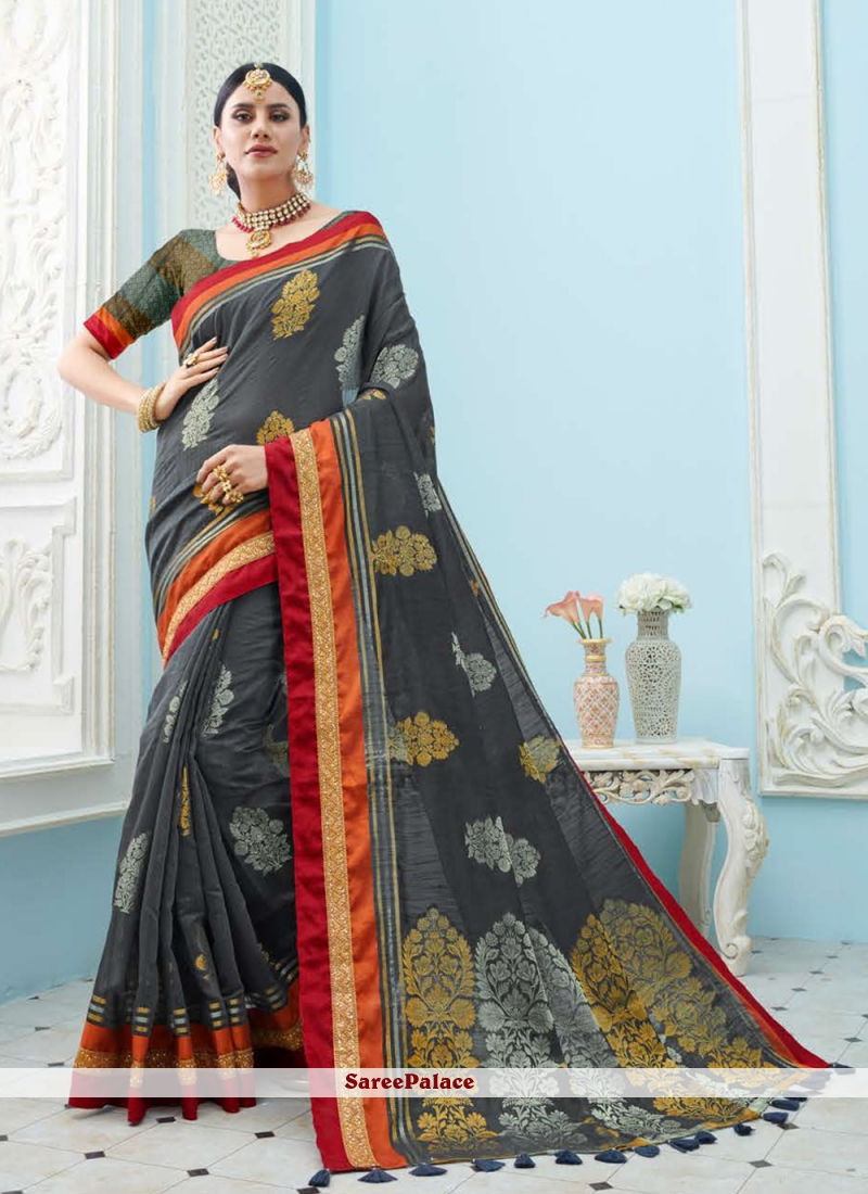 Art Silk Trendy Saree in Grey