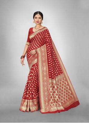 Art Silk Trendy Saree in Red