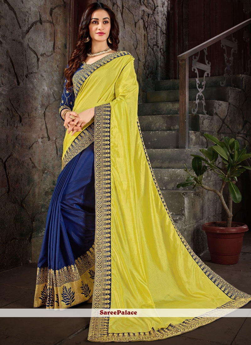 Art Silk Trendy Saree in Yellow