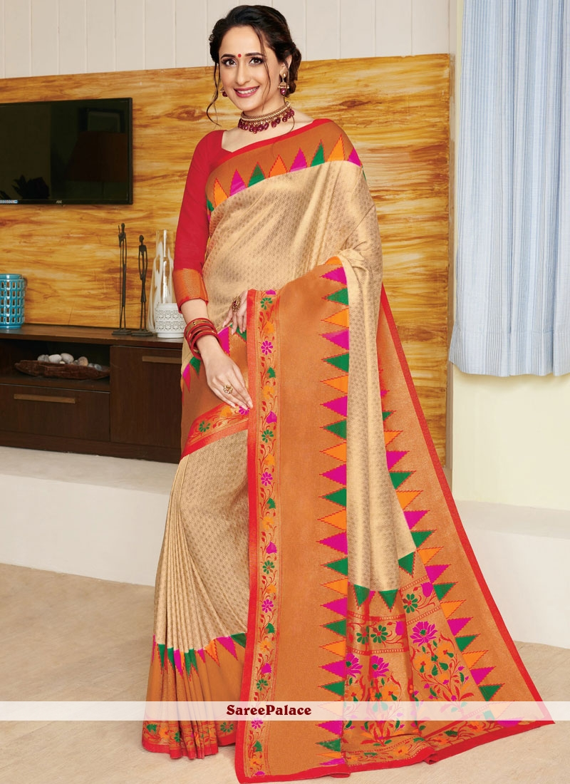 Art Silk Weaving Beige Traditional Designer Saree