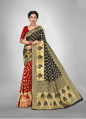 Art Silk Weaving Black and Red Half N Half  Saree