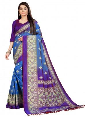 Art Silk Weaving Blue Contemporary Saree