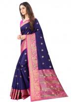 Art Silk Weaving Blue Designer Traditional Saree