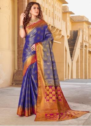 Art Silk Weaving Blue Silk Saree