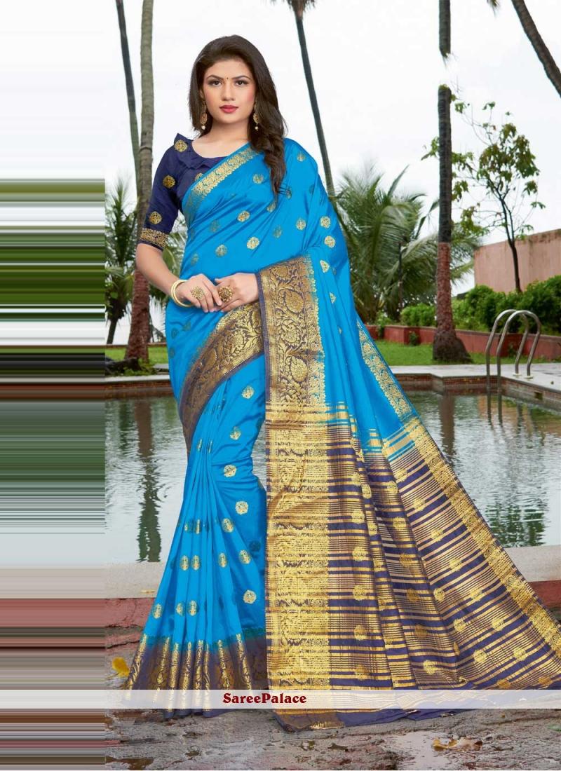 Art Silk Weaving Blue Traditional Saree