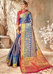 Blue Art Silk Weaving Classic Saree