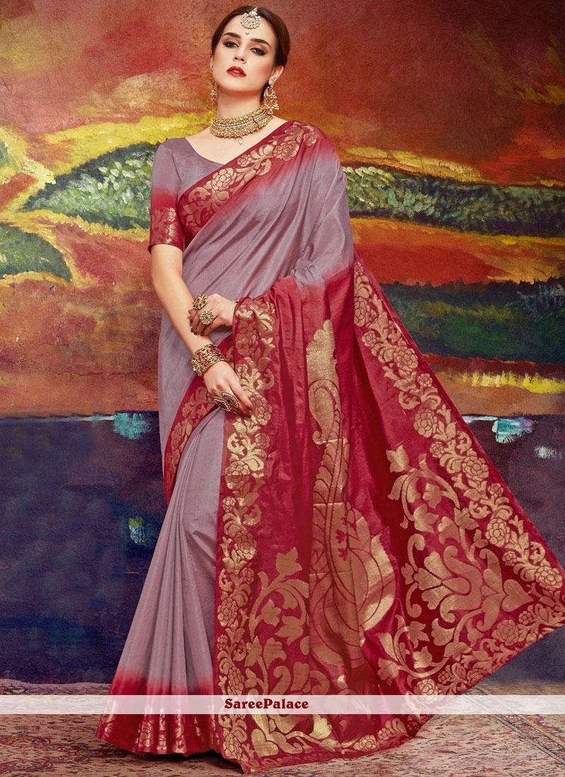 Art Silk Weaving Classic Saree in Brown
