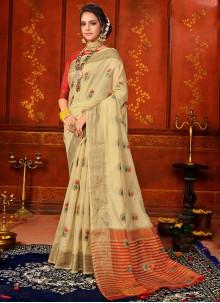 Art Silk Weaving Cream Classic Designer Saree