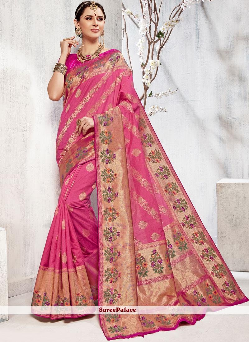 68f606af75c0e Buy Hot Pink Art Silk Weaving Designer Traditional Saree Online