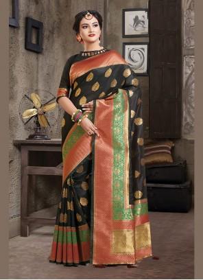 Art Silk Weaving Designer Traditional Saree in Black