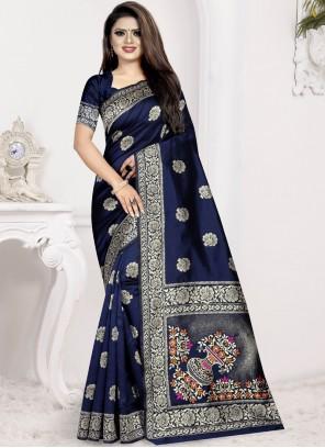 Art Silk Weaving Designer Traditional Saree in Navy Blue