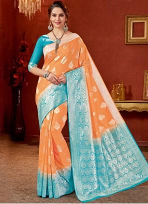 Art Silk Weaving Designer Traditional Saree in Orange