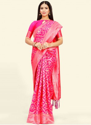 Art Silk Weaving Designer Traditional Saree in Pink