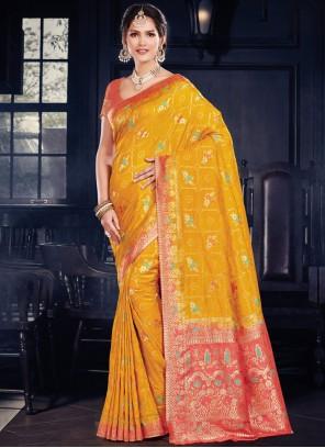 Art Silk Weaving Designer Traditional Saree in Yellow