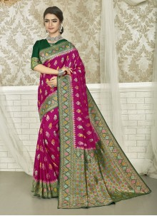 Art Silk Weaving Green and Magenta Saree