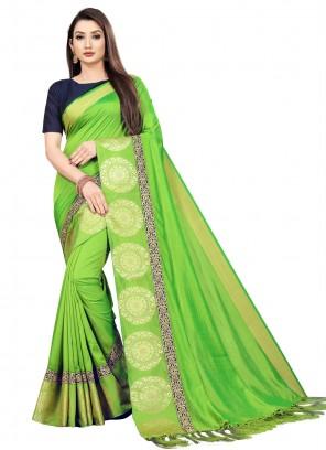 Art Silk Weaving Green Bollywood Saree