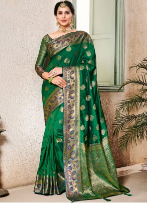 Art Silk Weaving Green Classic Saree