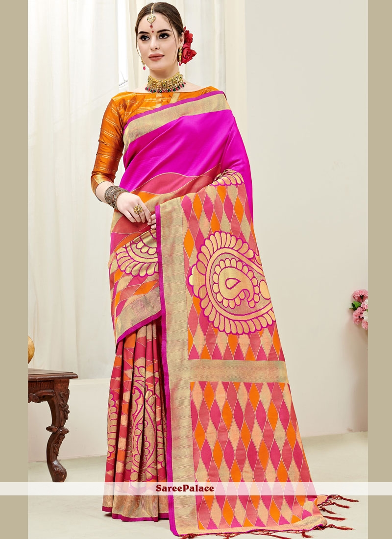 Art Silk Weaving Hot Pink and Orange Half N Half  Saree