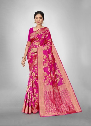 Art Silk Weaving Hot Pink Trendy Saree