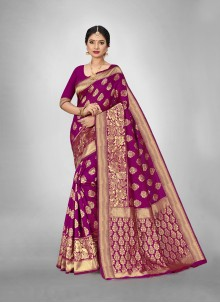 Art Silk Weaving Magenta Festival Saree