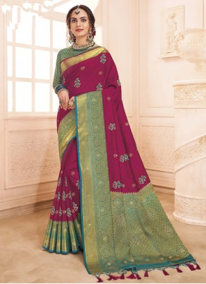 Art Silk Weaving Magenta Traditional Designer Saree