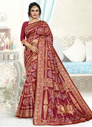 Art Silk Weaving Maroon Designer Traditional Saree