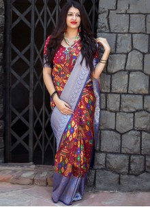 Art Silk Weaving Multi Colour Designer Traditional Saree