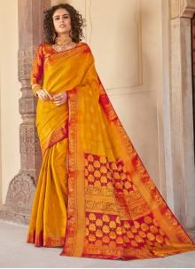 Art Silk Weaving Mustard Silk Saree
