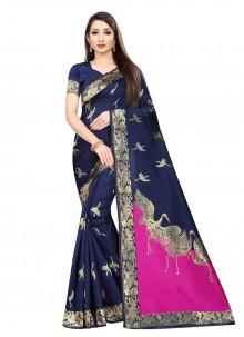 Art Silk Weaving Navy Blue Contemporary Saree