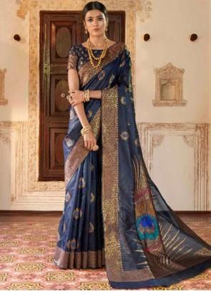 Art Silk Weaving Navy Blue Traditional Saree