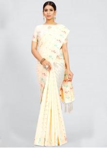 Art Silk Weaving Off White Traditional Designer Saree