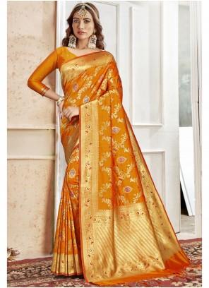 Art Silk Weaving Orange Saree
