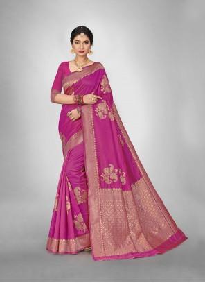 Art Silk Weaving Pink Festival Saree